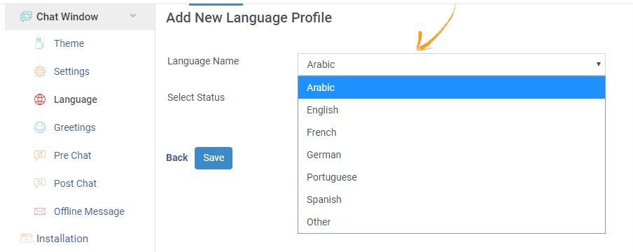 Select the language you want to add