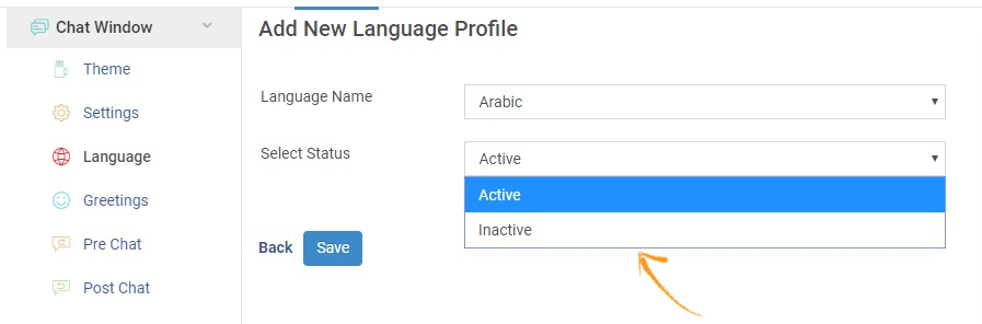Select the status of the language