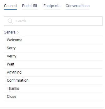 Canned Responses, Push URL, Footprints, Conversations