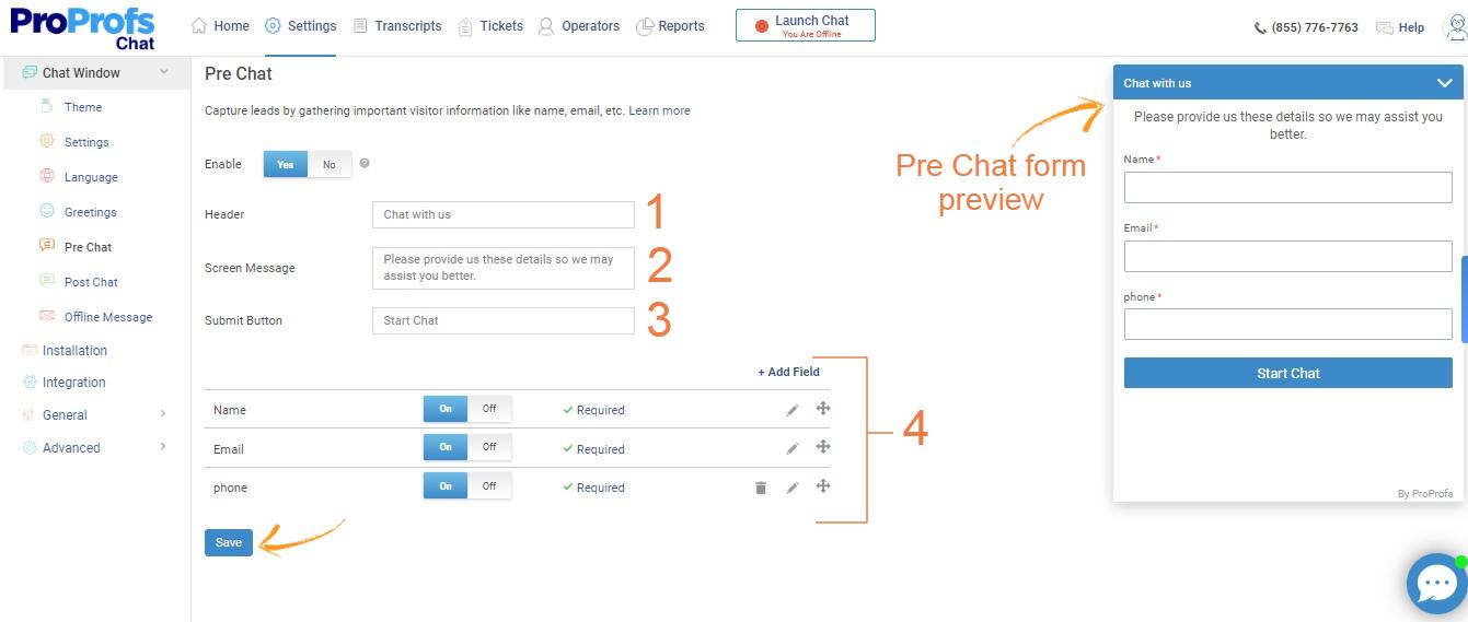 Configure Pre Chat Form
