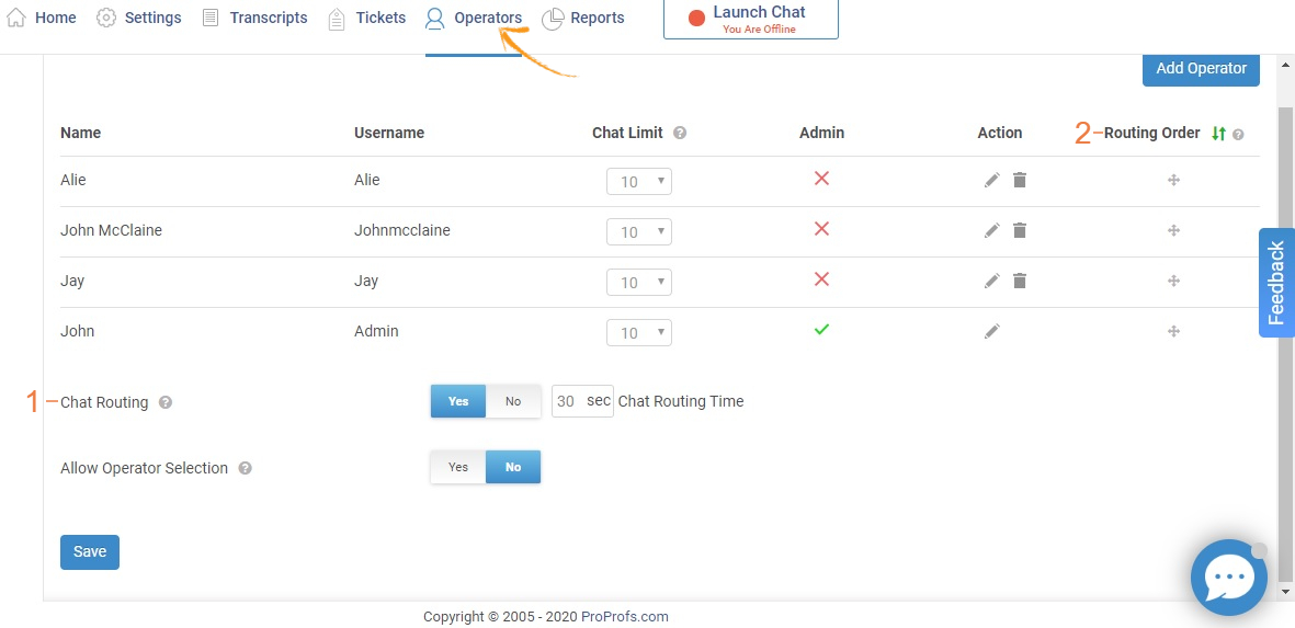 Click on Operators to Set up Chat Routing