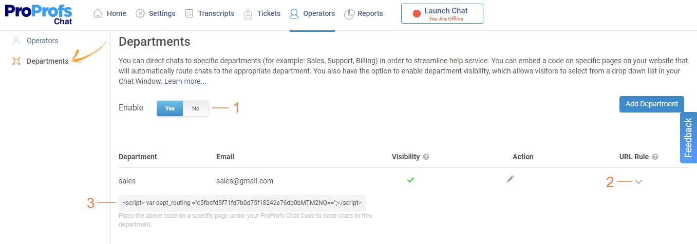 Set up Chat Routing for Departments