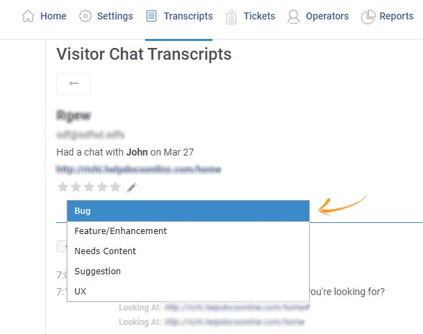 Add Tag to your Visitor Chat Transcripts