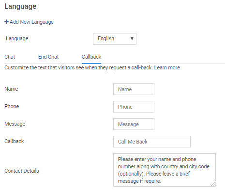 Customize the text that visitor see when they request a call back