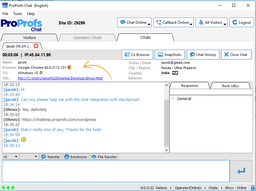 or monitoring window desktop proprofs chat faq s it gives us the information about a or s computer like key words web browser operating system screen colors computer language java system browser