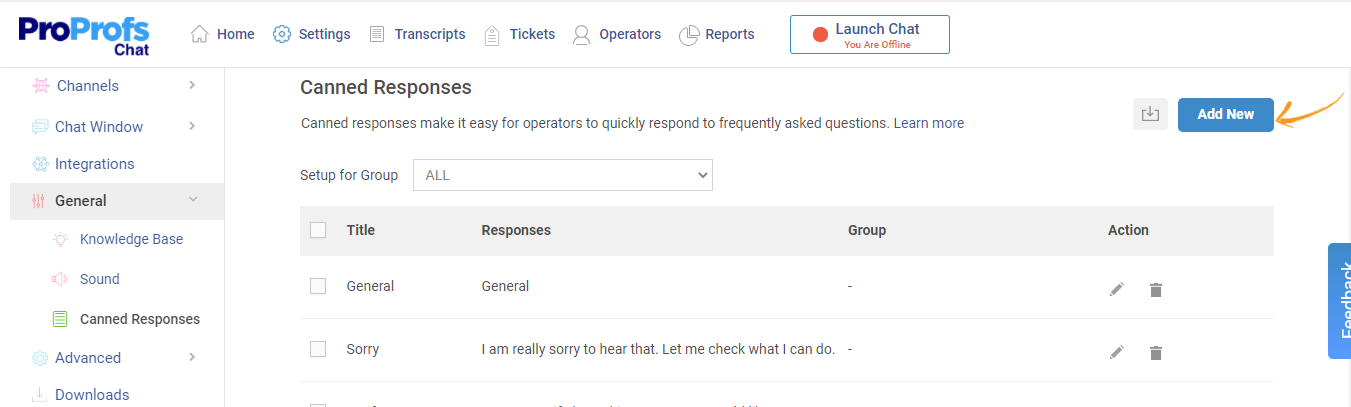 How to add a new canned response