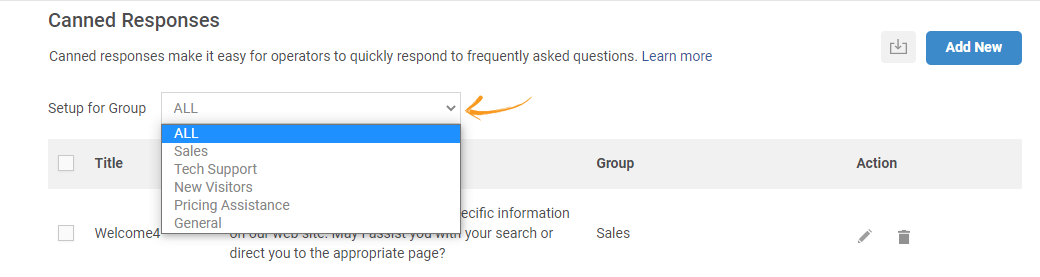 Filtering Canned Responses