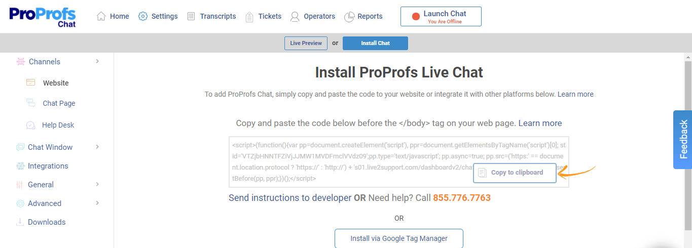 Copying the Snippet Code to Install Live Chat