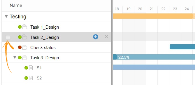 Drag and drop task in Gantt chart view