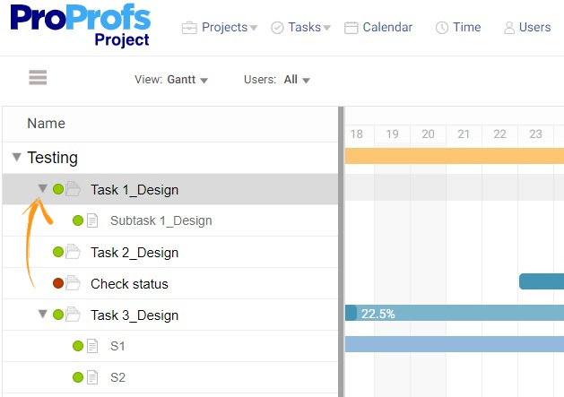 Expand task to view sub-task in Gantt chart view
