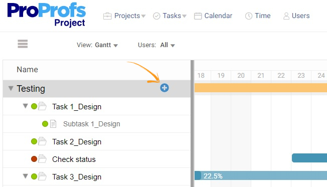 Add tasks in Gantt chart view