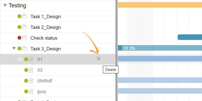 Delete task in Gantt chart view