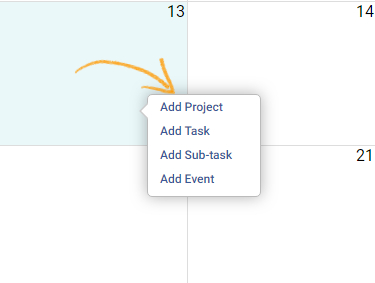 Add project/task/sub tasks/events in Calendar view