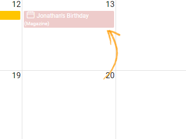 Add events for special occasions in calendar view