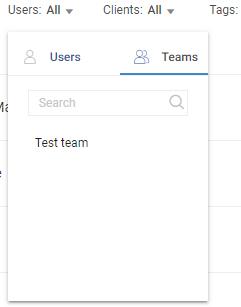 Filter bu single user or team
