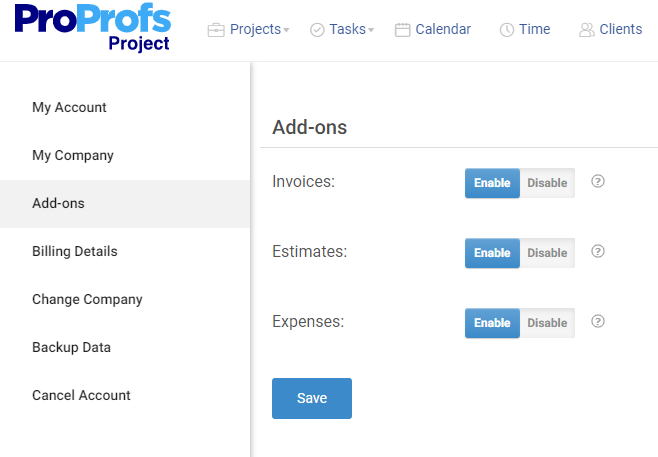 Enable/Disable Invoice, Estimates and Expenses