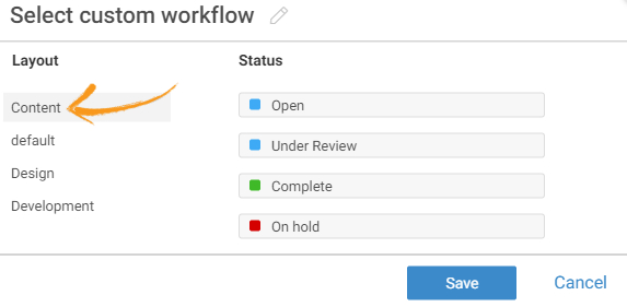 Select project workflow