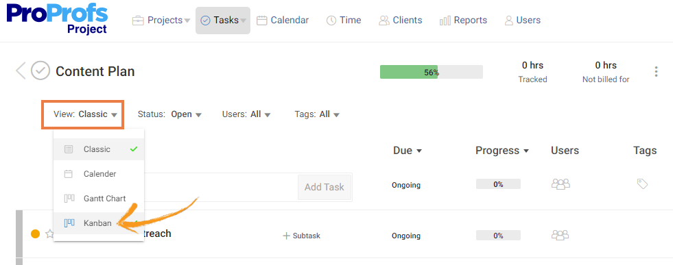 Kanban view in Project