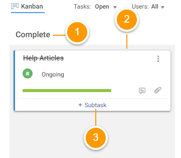 Project task in Kanban view