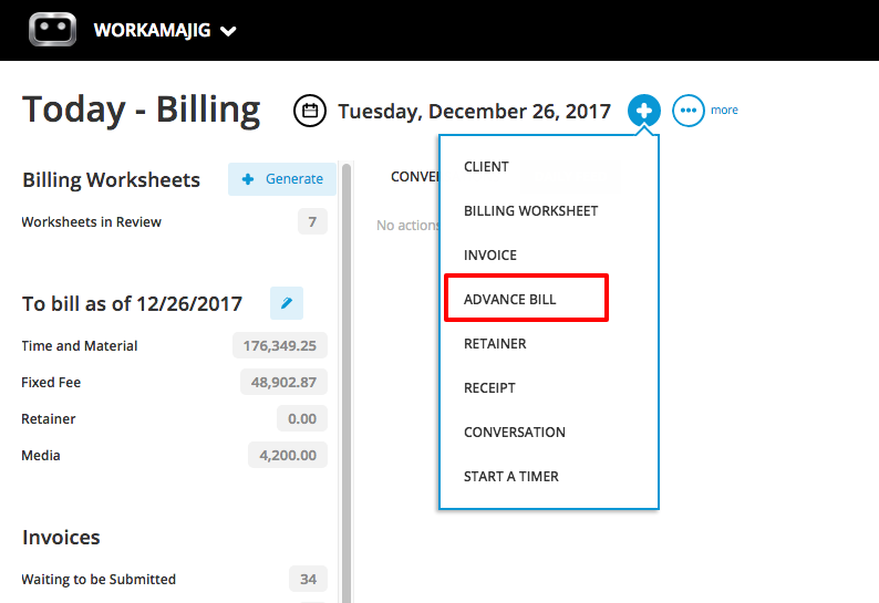 Advance Bill Invoices Workamajig Online Help Guide - Invoice bill