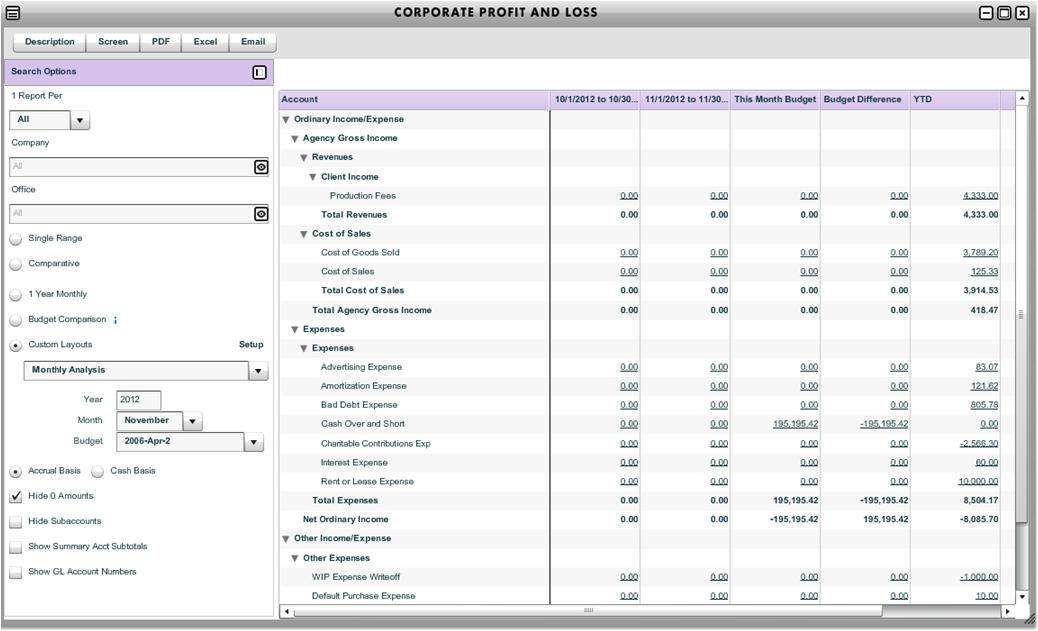 custom corporate profit and loss report workamajig online help guide