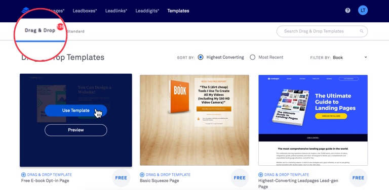 Build a drag drop leadpage leadpages knowledge base search for a template or browse through our collection you can also filter by template category in the top right corner of the template library page pronofoot35fo Choice Image