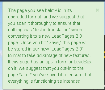 Why has my page been updated and what does it mean leadpages in the unlikely event you want to keep the page exactly as it was before the update you can do that as long as you close the page without saving pronofoot35fo Image collections