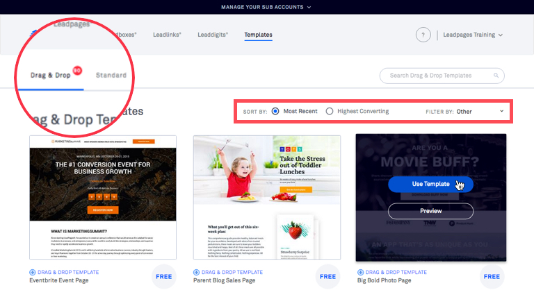 The different types of leadpages templates leadpages knowledge base to narrow your search you can use the sorty by options to arrange templates by when they were released or how well they convert on average pronofoot35fo Choice Image