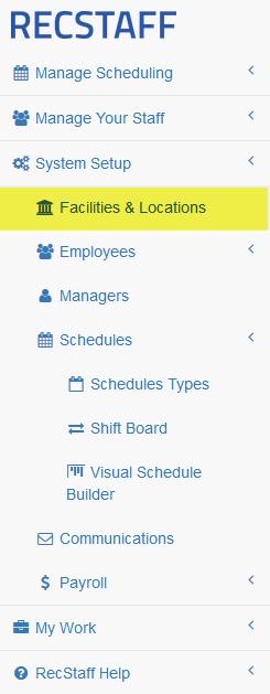 Location of Facilities menu option