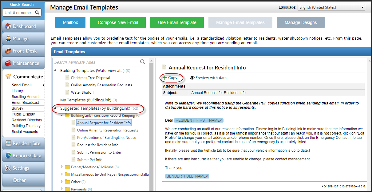 email templates buildinglink help site