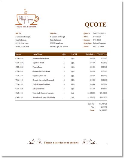 cs live - quote  u0026 invoice templates