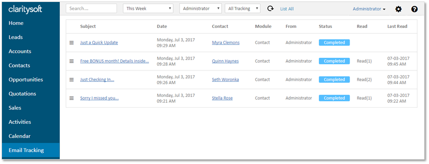 CS Live - Email Tracking - Support Portal