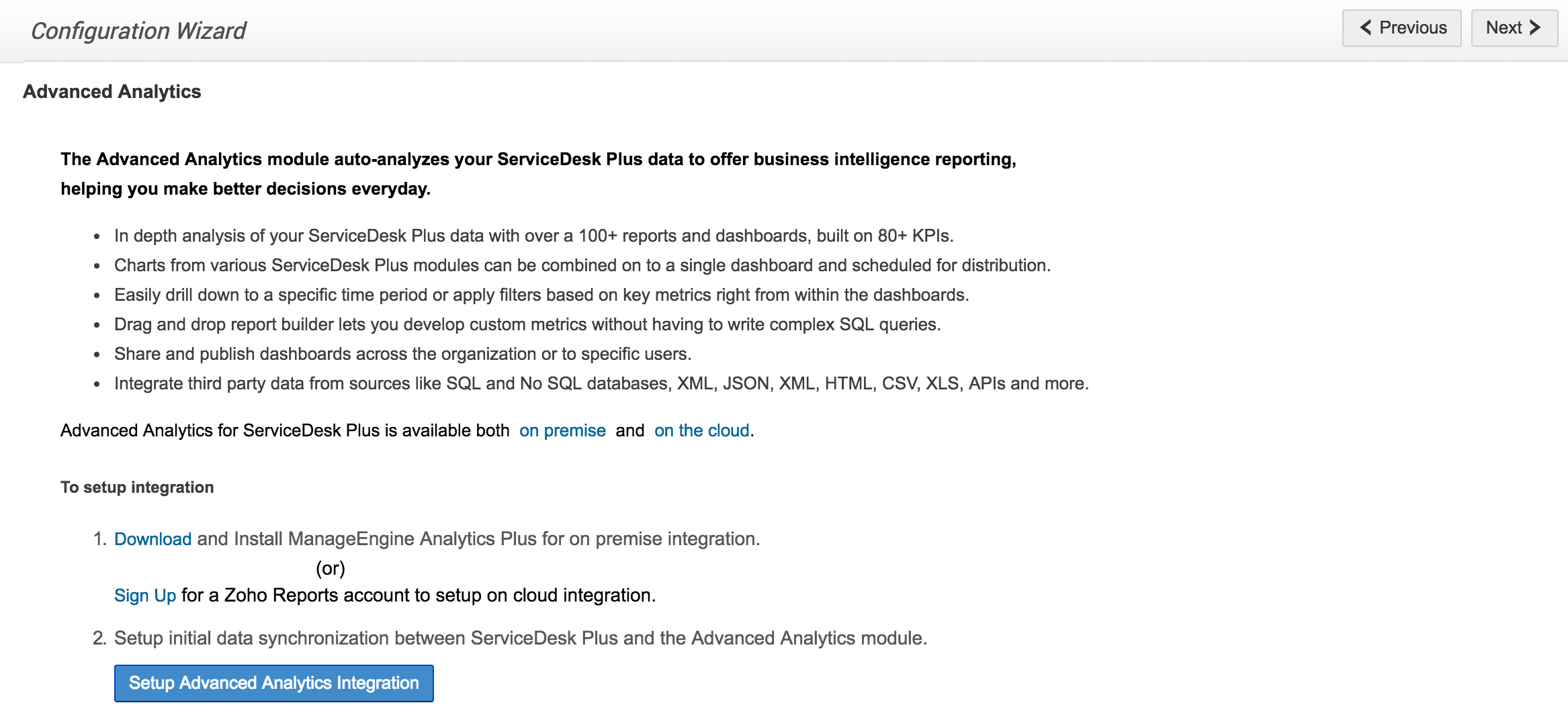 ManageEngine analytics plus | Zoho reports integration - SDP help desk guide