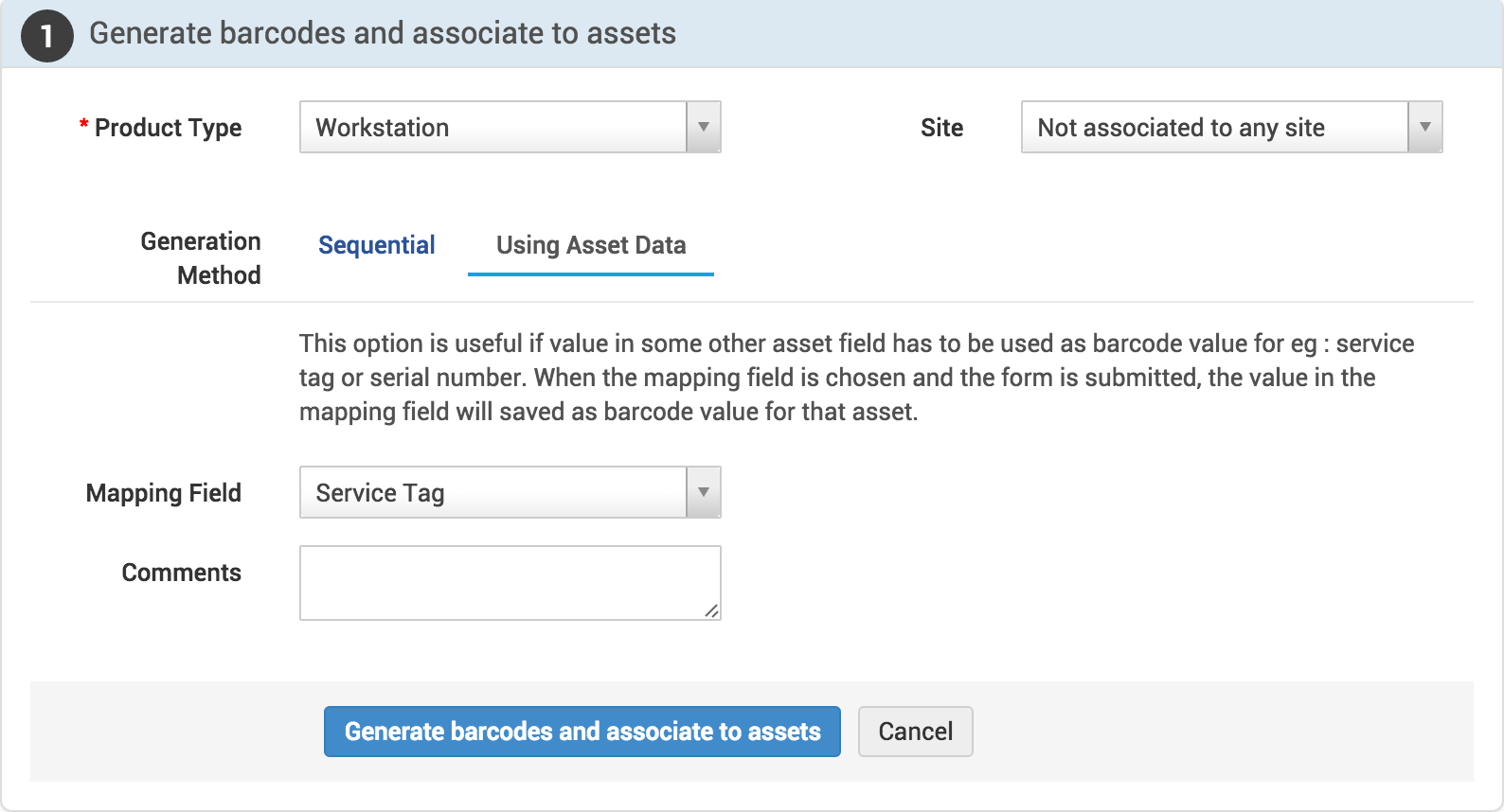 How to create barcodes for existing assets | Barcode generation