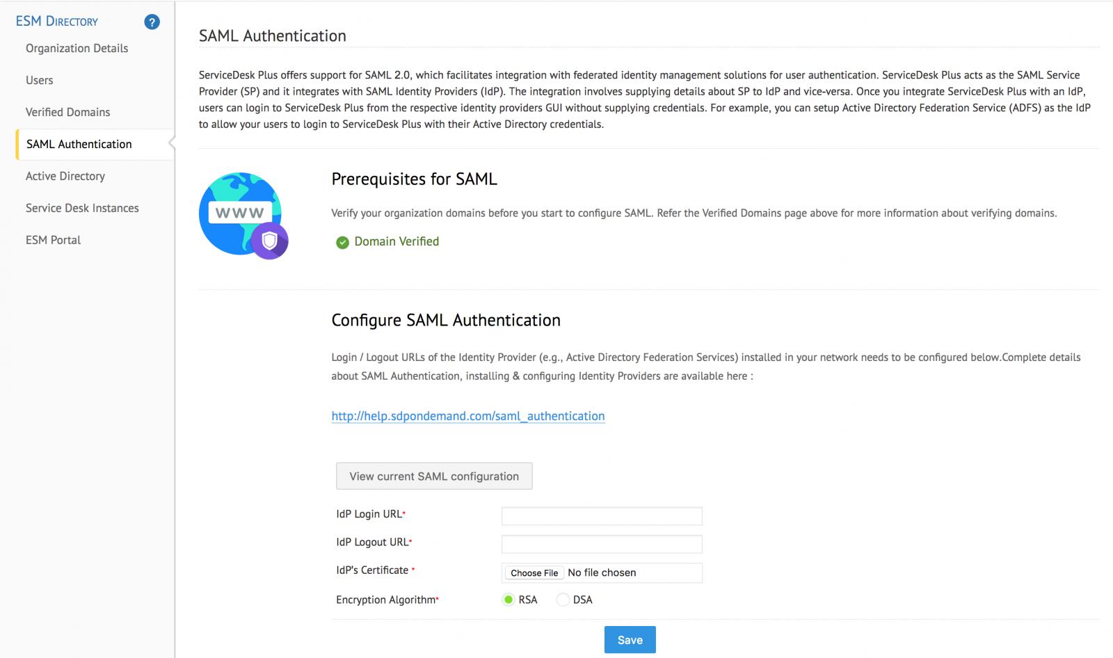 SAML Authentication - ServiceDesk Plus Cloud (SDP Ondemand)