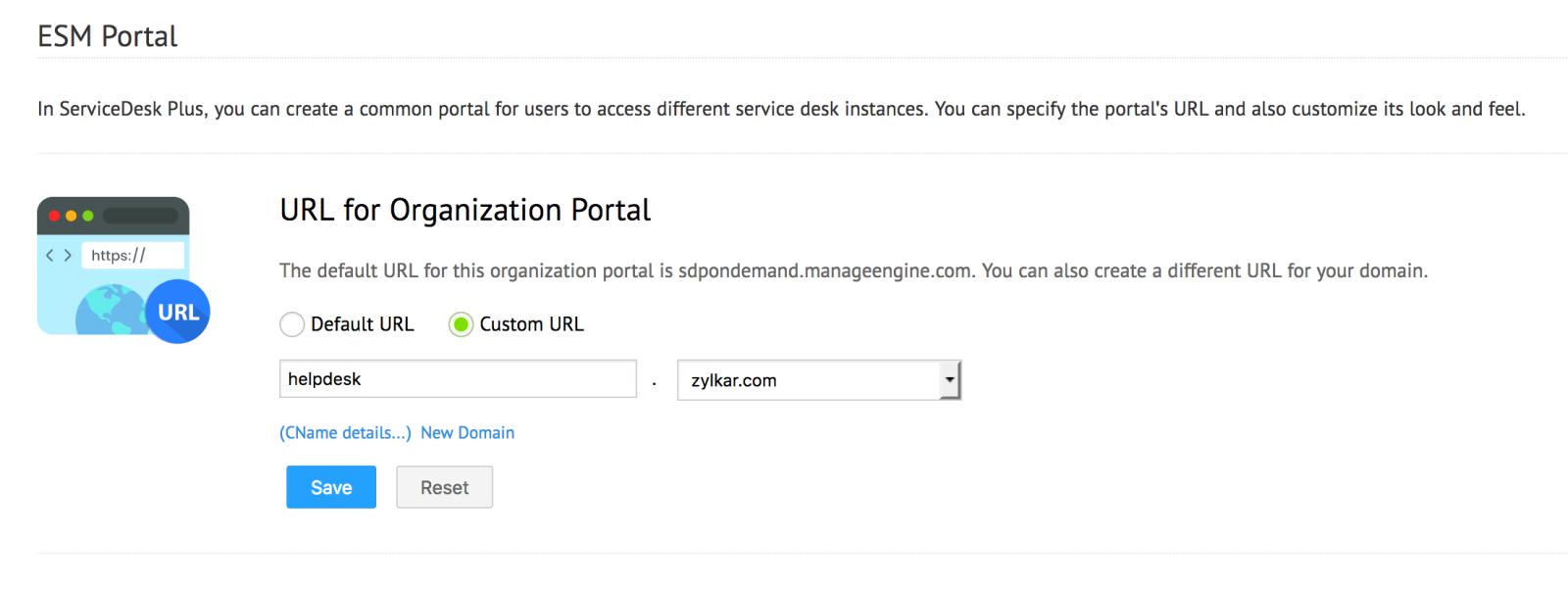 Customized Domains - ServiceDesk Plus Cloud (SDP Ondemand)