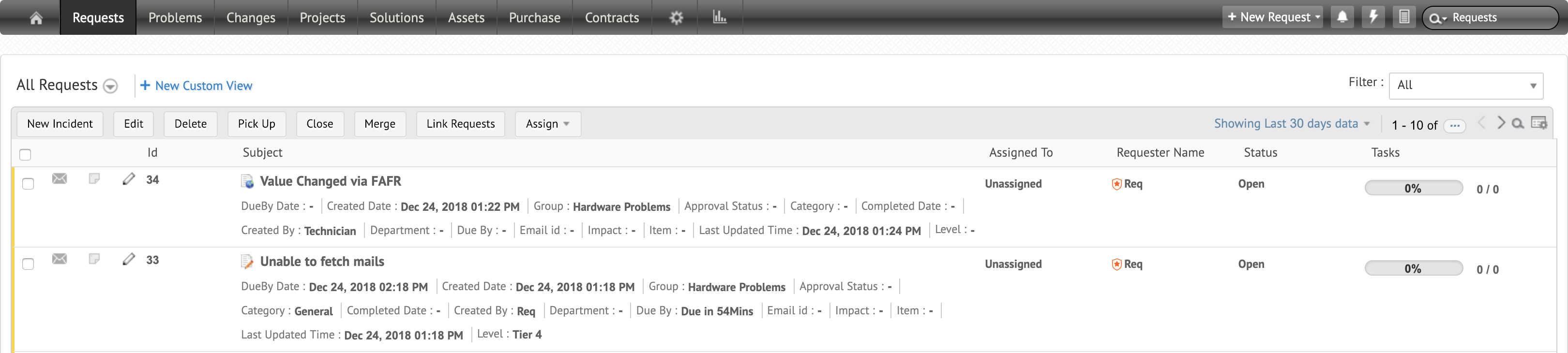 View request: Shows both incidents & service requests| ServiceDesk