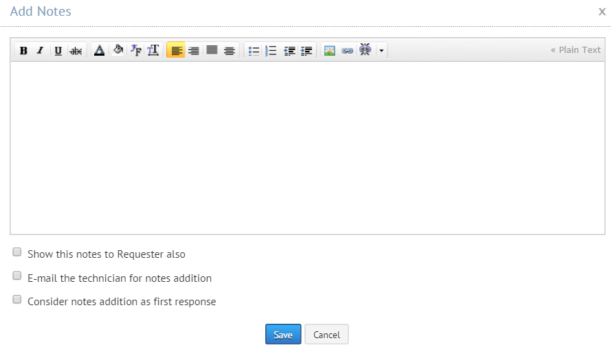 Adding notes in helpdesk request module| ServiceDesk Plus